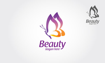 Beauty Vector Logo Illustration. Beautiful Butterfly logo, this logo symbolize, some thing beautiful, soft, calm, nature, metamorphosis, graceful, and elegant.