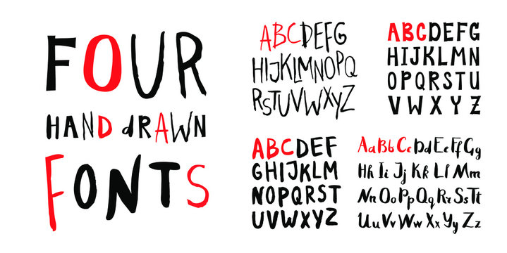 Four female Lettering alphabets. Hand made ink fonts. Hand drawn Letters written with a brush. Trendy hipster vector illustration