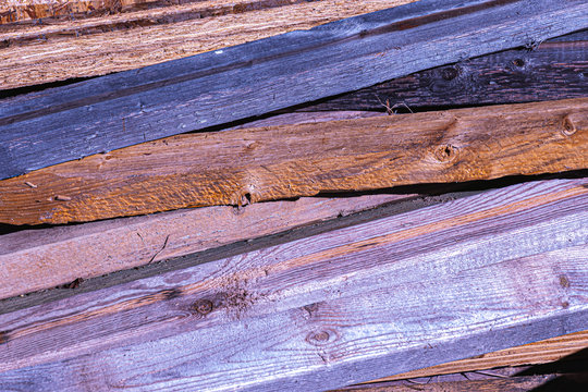 Unused Lumber Weathering Outside at Construction Site in Upstate NY