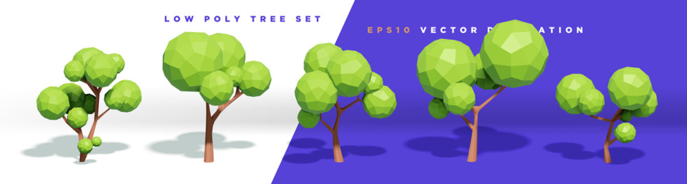 Set of 3d cute trendy low poly tree decorative vector elements