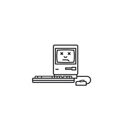 Damaged old computer vector line icon