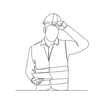 Continuous line drawing of cunstruction worker with blue print paper. One line art of architect hold design paper of building. Vector illustration.
