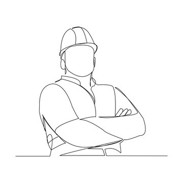 Continuous line drawing of cunstruction worker with blueprint paper. One line art of architect hold design paper of building. Vector illustration.
