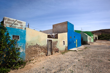 Street with colorful houses in Cape Verde