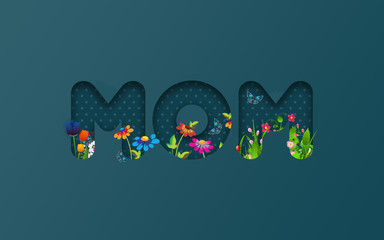 Bunch of Flowers in MOM Title For Mother's Day Against Green