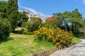 An image of a walkway. Established in 1848. Park Vorontsov Palace. Crimea.
