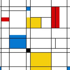 Mondrian seamless pattern. Bauhaus abstract geometric style. Colorful bauhaus vector illustration. Mosaic Piet Mondrian emulation.