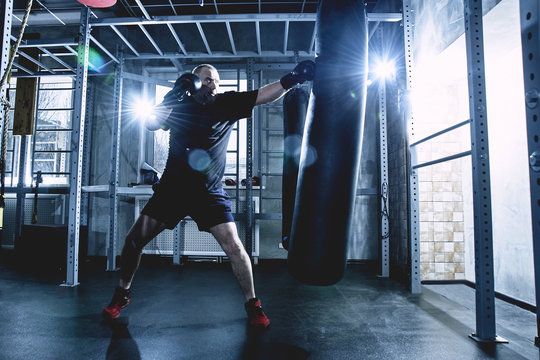 Adult gray-haired male boxer at workout in gym, boxing with gloves. The concept of a healthy lifestyle in old age