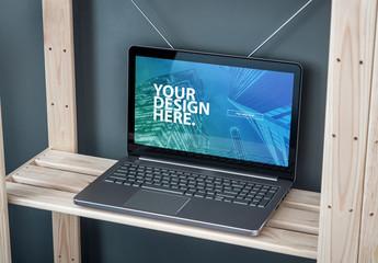 Modern Laptop Mockup on Wooden Shelf
