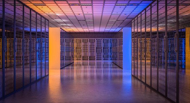 image 3d render of a modern database server room.