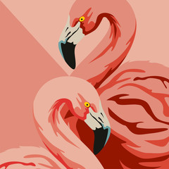 A pair of pink flamingos. Two beautiful birds bowed their heads to each other. Vector illustration of flat design. Loving couple. Symbol of love.