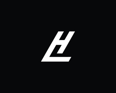Creative and Minimalist Letter LH HL Logo Design Icon, Editable in Vector Format in Black and White Color