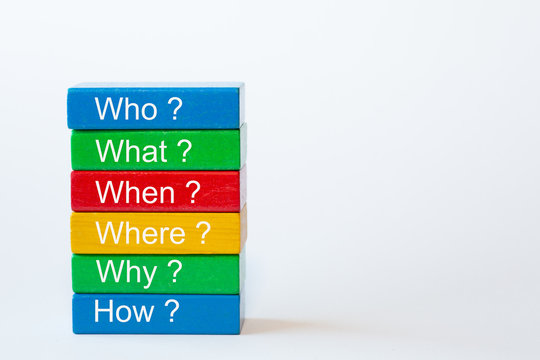 The words: Who, What, When, Where, Why and How are written on colorful blocks