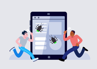 two man with tablet and bug