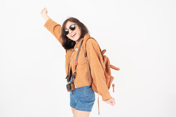 Beautiful young asian tourist woman happy on white background studio