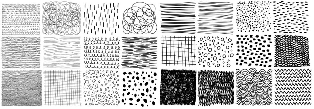 Vector collection of hand-drawn texture, lines, dots, scribbles, hatching, cells, strokes and abstract graphic design elements isolated on white background