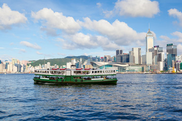 Famous Hong Kong Star Ferry carries passengers across Victoria Harbour in Tsim Sha Tsui.
