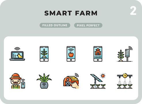 Smart Farm Filled Icons Pack for UI. Pixel perfect thin line vector icon set for web design and website application.