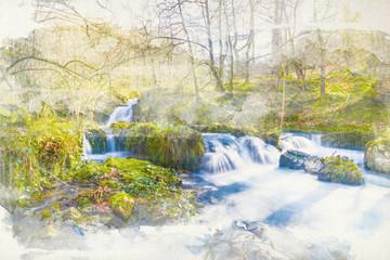 foto acuarela de bosque con río