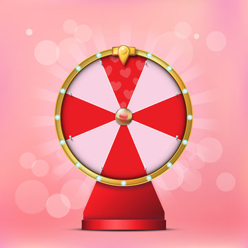 Valentine Spinning Fortune Wheel in realistic style on Bokeh Background
