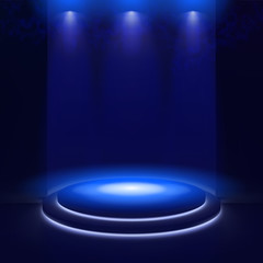 Printed roller blinds Light, shadow Illuminated stage with scenic lights and smoke. Blue vector spotlight with smoke volume light effect on black background. Stadium cloudiness projector. Mist show room. Vector. EPS 10