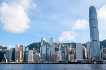 Famous Victoria Harbor in Hong Kong with downtown business district skyline