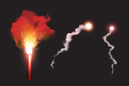 Burn red gun flare, sos fire light signal for emergency on road or sea. Glowing torch with sparks and color smoke isolated on black background. Ignition pyrotechnics realistic 3d vector illustration