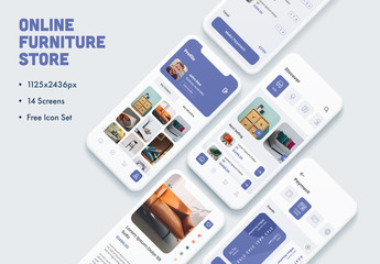 Online Furniture Store App UI and UX Screens Layout
