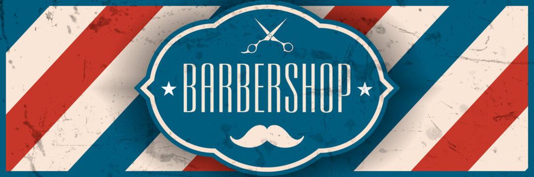 Old school barbershop horizontal banner.