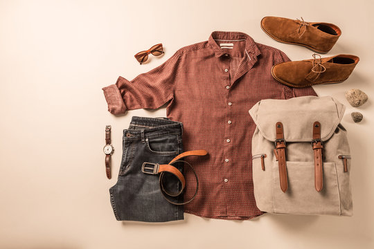 Men's clothing and accessories - tourist or traveler casual outfit