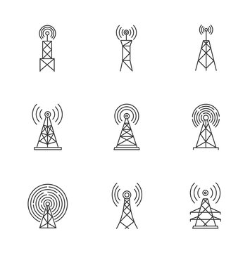 5G cell towers and antennas pixel perfect linear icons set. Fast connection. Mobile network coverage. Customizable thin line contour symbols. Isolated vector outline illustrations. Editable stroke