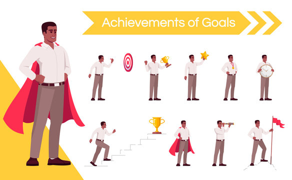 Motivated worker aiming for success flat vector illustrations set. Happy businessman celebrating goals achievement isolated cartoon one character kit. Professional superpowers and competencies