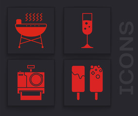 Set Ice cream , Barbecue grill , Glass of champagne and Photo camera icon. Vector
