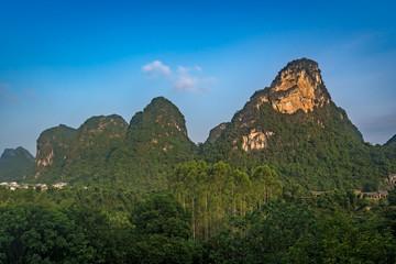 Green lush karst Yangshuo landscape in China