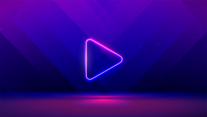 Play button on abstract purple and blue background. Multimedia, audio, video, cinema, music abstract background with neon glowing triangle Play Icon. Vector image.