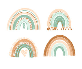 Collection of hand drawn boho rainbows in pastel mint and brown colors, isolated elements on white background; nursery art design, for printing on baby clothes and textiles, home decor art