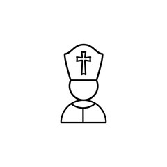 Pope, Christianity icon. Simple line, outline vector religion icons for ui and ux, website or mobile application