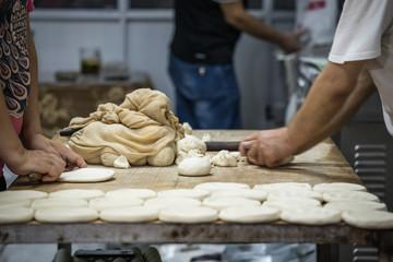 Preparation of a street food breads in Xian