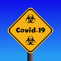 Covid-19 biohazard sign against blue sky illustration