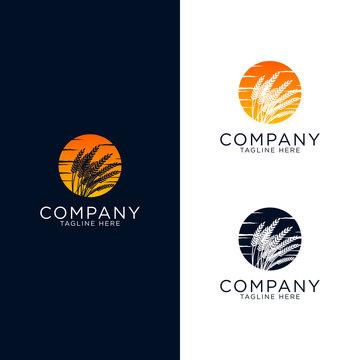 logo design emblem vector grass weeds with sunset vintage style