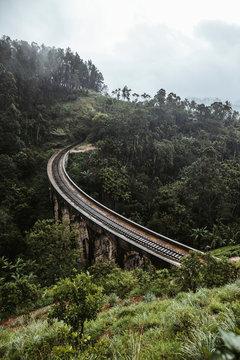Sri Lanka, Uva Province, Demodara, Nine Arch Bridge across green forested valley