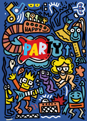 Wall Murals Graffiti collage Hand drawn, doodle party set. Sketch icons for invitation, flyer, poster, Hand Drawn Vector Illustration of Doodle