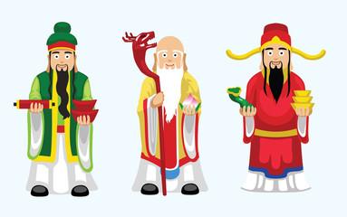 Sanxing Fu Lu Shou Cartoon Character Vector Illustration Fotomurales
