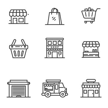 Set of store and shopping icons in black thin line design isolated on white background