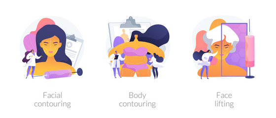 Cosmetological procedures, contour plastic, anaplasty, rejuvenation and weight loss. Facial contouring, body contouring, face lifting metaphors. Vector isolated concept metaphor illustrations.
