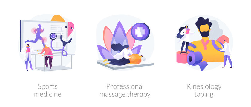 Athlete body recovery, sports injuries treatment, healthcare. Sports medicine, professional massage therapy, kinesiology taping metaphors. Vector isolated concept metaphor illustrations.