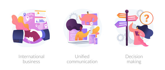 Business communication and collaboration, teamwork, partnership. International business, unified communication, decision making metaphors. Vector isolated concept metaphor illustrations.