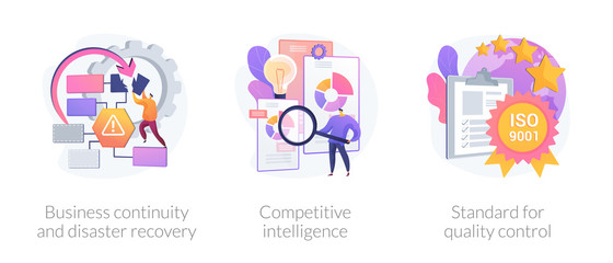 Company success guarantees. Business continuity and disaster recovery, competitive intelligence, standard for quality control metaphors. Vector isolated concept metaphor illustrations. Fotomurales