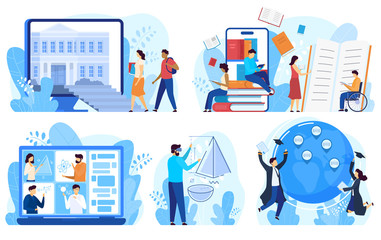 Distance education and online learning concept, vector illustration. Cartoon characters studying online, distance education program for international students and disabled people. Internet course Wall mural