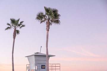 Lifeguard stand and palm trees at sunrise